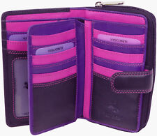 Womens Purse Soft Real Leather Wallet Black Berry RFID Visconti R13