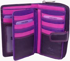 Visconti Ladies Medium Leather in Black Cerise Purple Purse R - 13 I