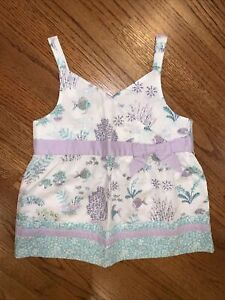 Janie And Jack NWT Sz 7 Sweet Coral Reef Biw Floral Fish Top