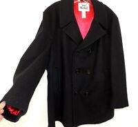 Vintage Woolrich Mens 44 Black Pea Coat Wool Double Breasted Navy & Red Lining