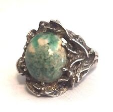 Vintage Sterling Silver Green Stone Ring  Size 7 8.2g Pinky Art & Craft Movement