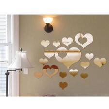16x DIY Cuore Specchio Adesivo Da Parete Arte Decorazione Casa Ufficio