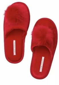 Victoria's Secret Red Faux Fur  Pom-Pom Slippers Size Large 9 - 10 Holiday Gift