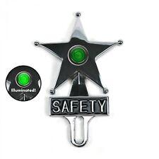 Light Up Green Dot Vintage Style Safety Star License Plate Topper Hot Rat Rod