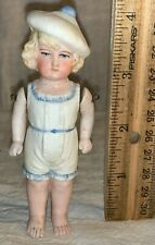 ANTIQUE UNMARKED 4 1/4 INCH BISQUE DOLL BLONDE HAIR WHITE HAT LITTLE GIRL OLD