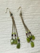 Green & Cranberry Bead Dangle Earr Estate Super Long Silvertone Chain with Olive