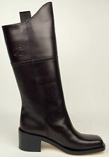 CHANEL 14A Dark Brown Leather CC Logo Dallas/Paris High Boots EU 37.5 US 7 $1875