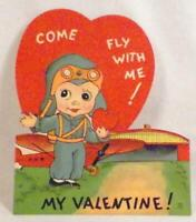 Vintage Valentine Card Boy Plane Come Fly With Me 1940 Mechanical #63
