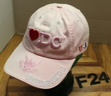 WOMENS I LOVE (HEART) WASHINGTON DC HAT PINK EMBROIDERED STRAPBACK VGC F24