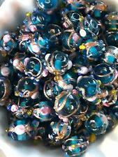 Vintage Wedding Cake Beads, Glass beads,Art Glass,Venetian Beads,Flower #1680