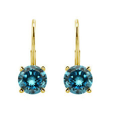 1.00 Carat Fancy Blue Diamond Round Leverback Earrings 14k Yellow Gold Best Gift