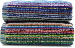 Bath Sheet Set 2pk 100% Recycled Cotton Stripe Remnant Large Towel Absorbent