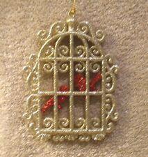 Acrylic Gold Glitter Bird Cage w/Red Glitter Birds Christmas Ornament- New