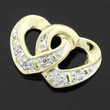 9ct Yellow Gold Sliding Double Heart Pendant Set With Diamonds