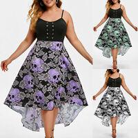 Fashion Women Sleeveless Grommet Floral Skull Print High Low Plus Size Dress