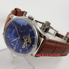 43mm parnis blue dial brown strap power reserve ST2505 automatic mens watch 547