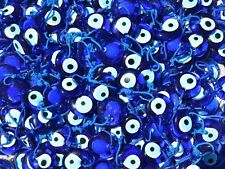 SET OF 25, 1 1/2 INCH ROUND BLUE GLASS EVIL EYE NAZAR BONCUk GOOD LUCK AMULET