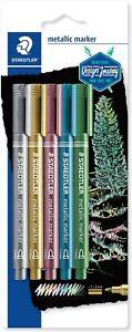Staedtler Metallic Marker Pens Set 5 Pens 8323-S BK5 Gold Silver Blue Green Pink