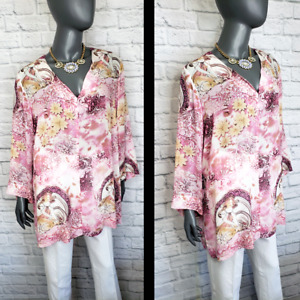 CITRON Santa Monica 100% Silk Tunic 1X Plus Size GODDESS Top Sheer Artistic