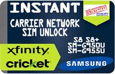 INSTANT REMOTE UNLOCK CODE CRICKET XFINITY SAMSUNG GALAXY S8 S8 PLUS G950U G955U
