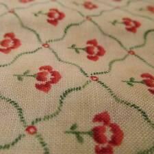 Cotton Fabric floral on cream green lattice MAYWOOD Scarborough BTHY half yard