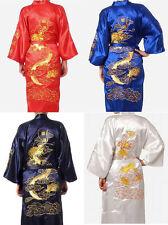 Hot style noir rouge bleu chinois soie homme peignoir kimono peignoir robe M-XXL