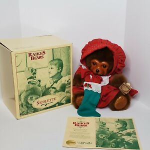 Vintage Raikes Bears Nicolette Holiday Wooden Carved Face Bears in Box with COA