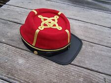 civil war confederate reenactor officers artillery kepi 3 row braids Large