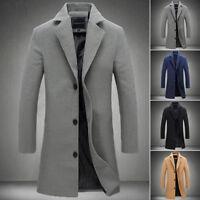 Nouvelle Mode Homme Manteau Laine Hiver Trench-Coat Extérieur Veste Longue chaud