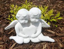 Garten Deko Figur Engel Paar mit Herz Grabschmuck Grabdeko Grabengel 17 x 14 cm
