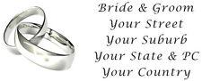 72 LARGE PERSONALISED WEDDING INVITATION RETURN ADDRESS LABELS STICKERS RINGS