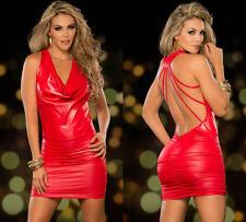 Completo Abito Vestito Aderente Simil Latex PVC Mistress Sexy Clubwear Rosso