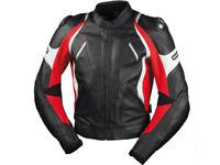 iXS Lederjacke Canopus | Schwarz-Rot-Weiß | Motorradjacke aus Rindsleder