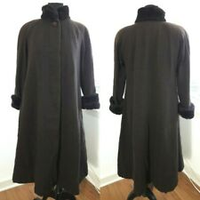 Donnybrook Brown 100% Wool Winter Snow Coat Button Front Faux Fur Trim Women 6P