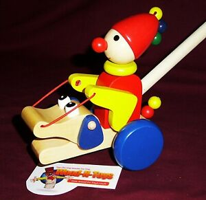 Push Along Clown with moving arms - wooden toy