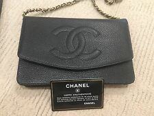 NIB Classic Chanel Wallet on a Chain - Black Caviar Leather Gold HW $2800