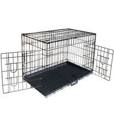 Metal Collapsible Fold Pet Dog Cage Cat Puppy Portable Crate House Tray L 36""