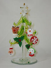 """HANDCRAFTED GREEN GLASS XMAS TREE W/9 REMOVABLE RESIN ORNAMENTS - 6"""" TALL"""