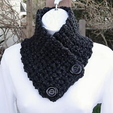 NECK WARMER SCARF Black Dark Gray Grey Handmade Crochet Knit Thick Buttoned Cowl