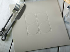 Set of 4 STONE GREY Embossed SQUARE LEATHERBOARD PLACEMATS
