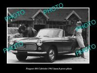 OLD LARGE HISTORIC PHOTO OF PEUGEOT 404 CABRIOLET 1961 LAUNCH PRESS PHOTO 1