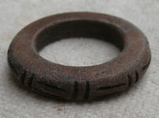 Hand Carved Fruit Wood Ring from Guatemala,coffee brown,size 6,line design