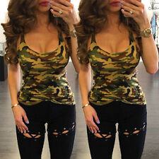 Fashion Women's Casual Camouflage Sleeveless Summer Vest Tank Tops Shirt Blouse