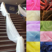 10M x 1.35M Table Swags Sheer Soft Organza Fabric Bow Wedding Party Stair Decor
