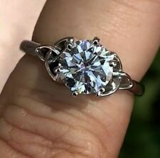 2.90 Ct Round Simulated Moissanite Engagement Ring 14K White Gold Over Woman's