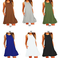 Plus Size Women's Summer Casual Swing T-Shirt Dresses Beach Cover up w/ Pockets