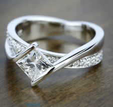 Certified 1.82CT Princess Cut White Solitaire Engagement Ring In 14K White Gold