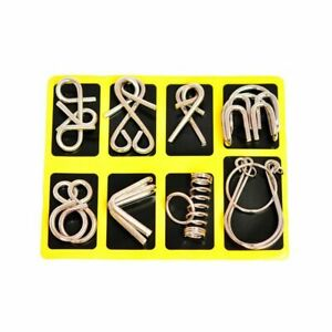 8Pcs/Set Metal Wires Puzzle IQ Mind Brain Teaser Puzzles Toy For Kids Adult Game
