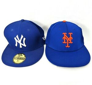 2 NY Yankees Cap Hat New Era 59Fifty 7.5 and OC Sports L/XL Fitted Baseball Cap