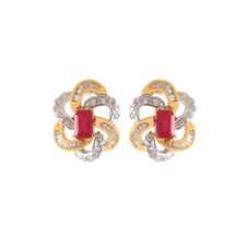 Pave 1.70 Cts Natural Diamonds Ruby Stud Earrings In Fine Hallmark 18Carat Gold